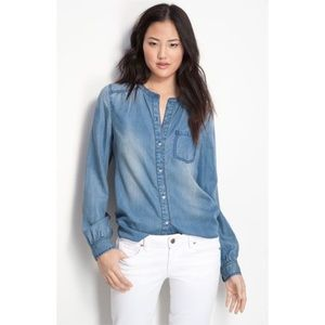 Trouve • Denim Chambray Popover Shirt